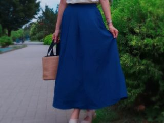 ネイビー マキシスカート 30代ママファッション henana